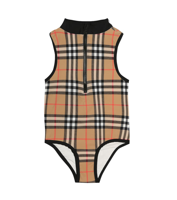 Burberry Kids' Check Swimsuit In Yellow