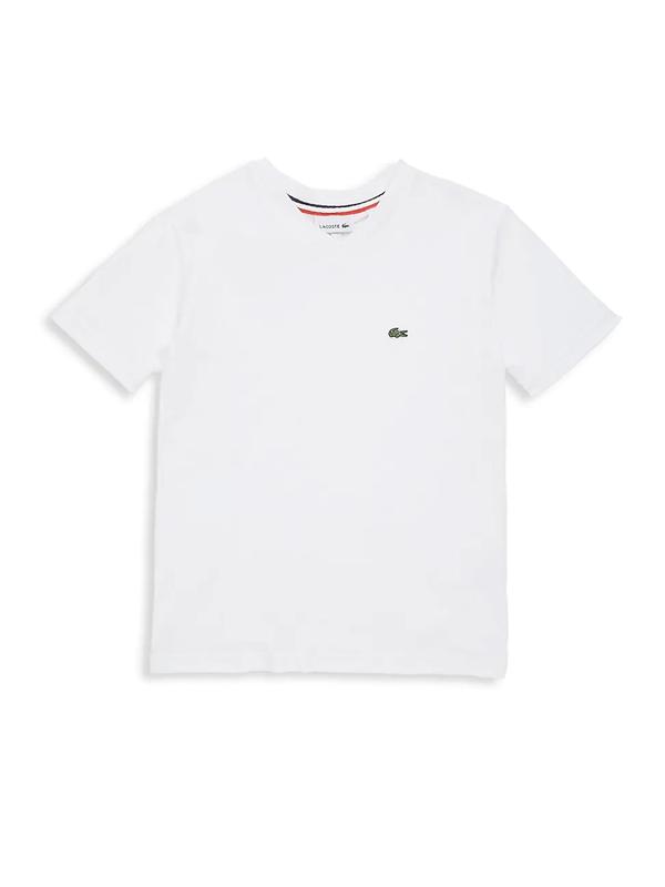 Lacoste Kids' Little Boys Short Sleeve V-neck Cotton T-shirt In White