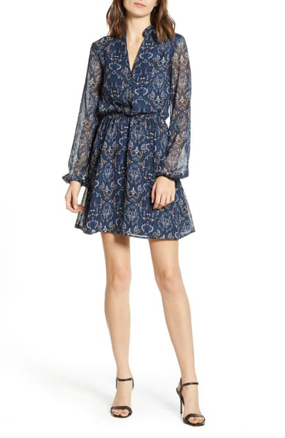 Cupcakes And Cashmere The Rocky Paisley Chiffon Long Sleeve Minidress In Blue Depths