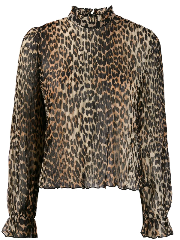 Ganni Leopard Print Pleated Georgette Blouse In Brown