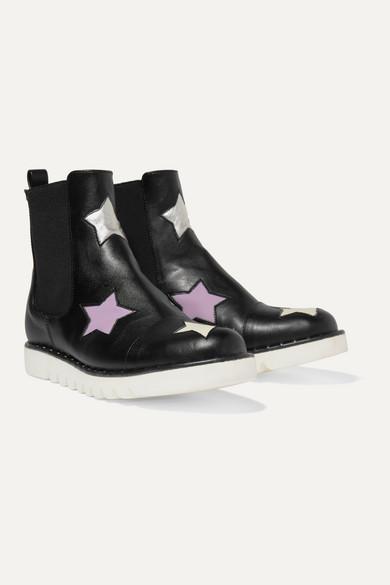 Stella Mccartney Kids' Studded Metallic-trimmed Faux Leather Chelsea Boots In Black