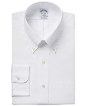 Brooks Brothers Regent Pinpoint Solid Non-iron Classic Fit Dress Shirt In White