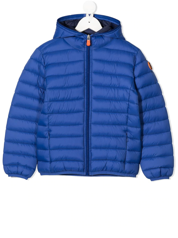 Save The Duck Kids' Giga Water Repellent Hooded Puffer Jacket In Blue