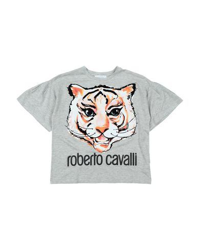 Roberto Cavalli Junior Kids' Grey Tiger Print T-shirt In Light Grey
