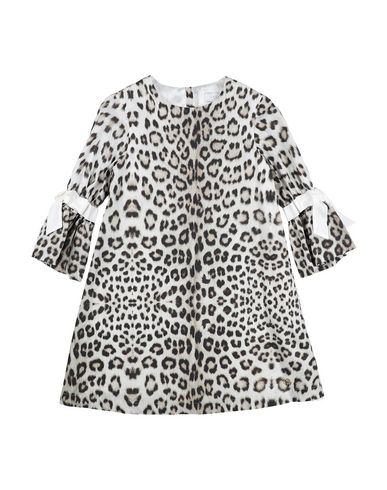 Roberto Cavalli Junior Kids' Bow Trimmed Leopard Print Dress In Beige