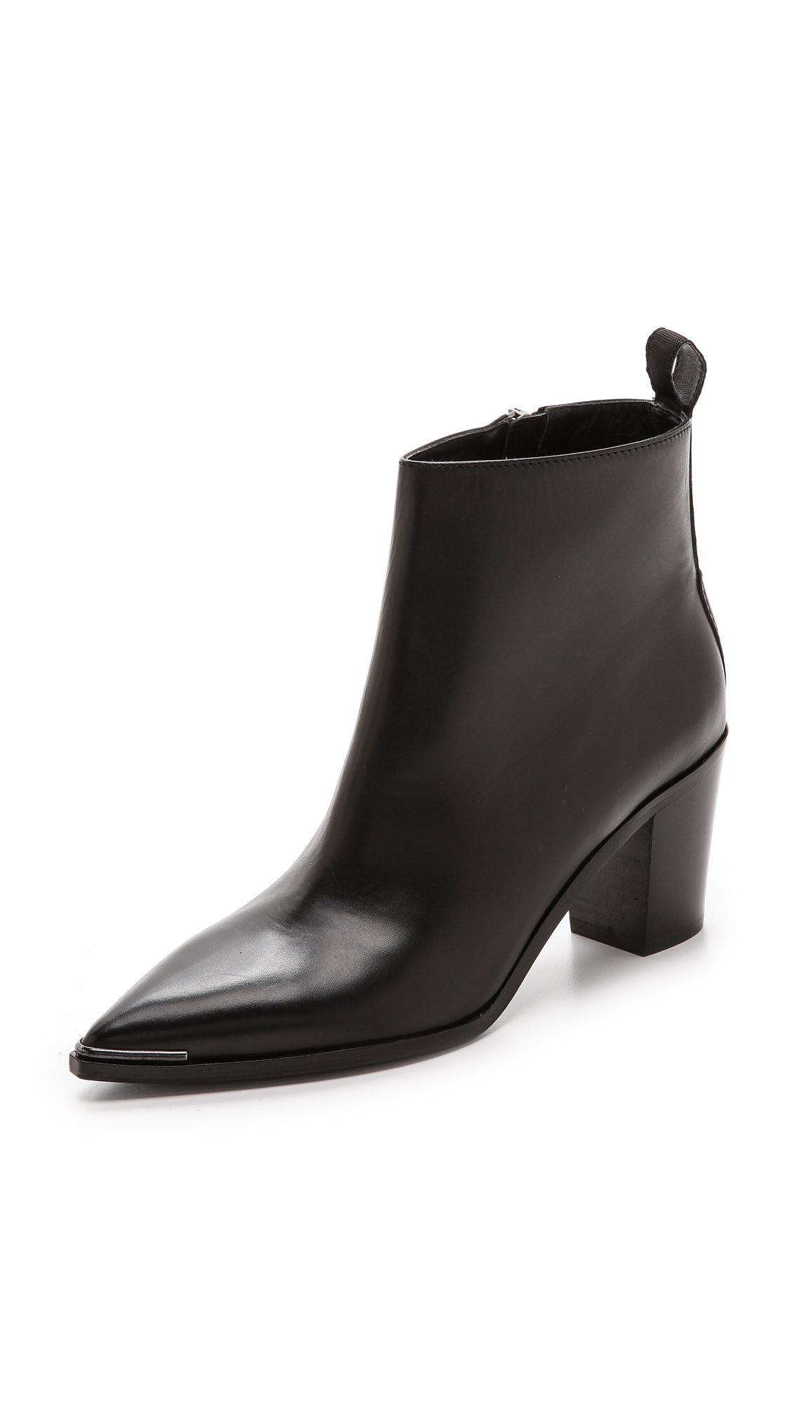 Acne Studios Loma Leather Point-Toe Ankle Boot In Black