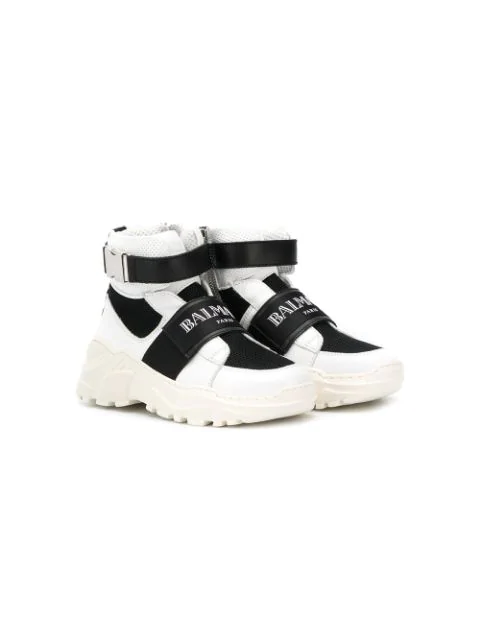 Balmain Kids' Faux Leather & Mesh High Top Sneakers In White