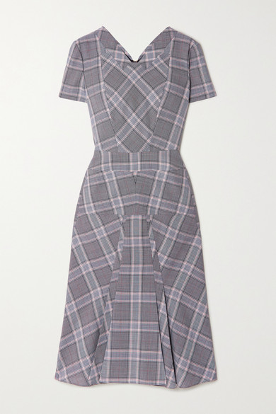 Roland Mouret Bowland Checked Wool Dress In Light Gray