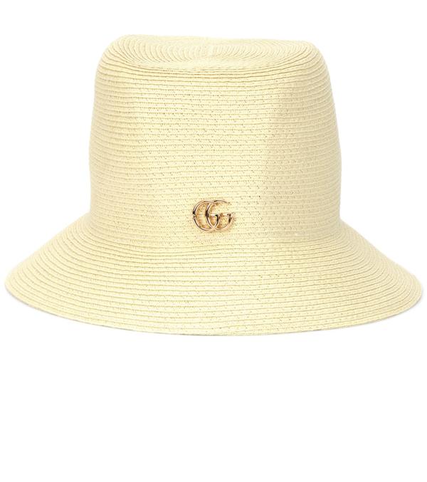 Gucci Paper-effect Straw Bucket Hat In Ivory Woven Raffia