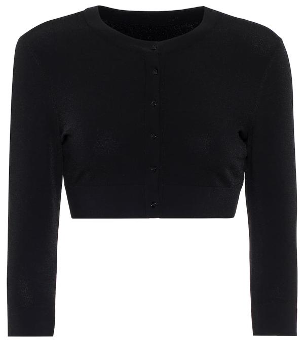 Alaïa Cropped Stretch-knit Cardigan In Black