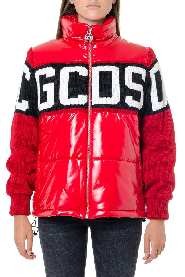 Gcds Logo Panelled Down Jacket In Red