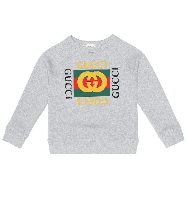 Gucci Kids' Long-sleeve Logo Sweatshirt In Grey