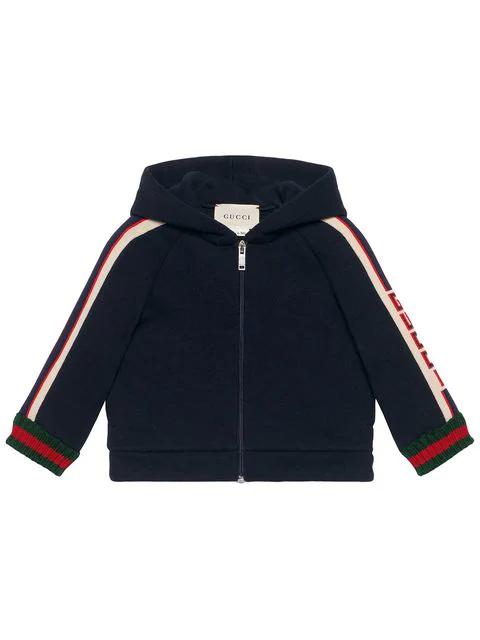 Gucci Babies' Hooded Logo Jacquard-trim Jacket W/ Web Knit Cuffs In Blue