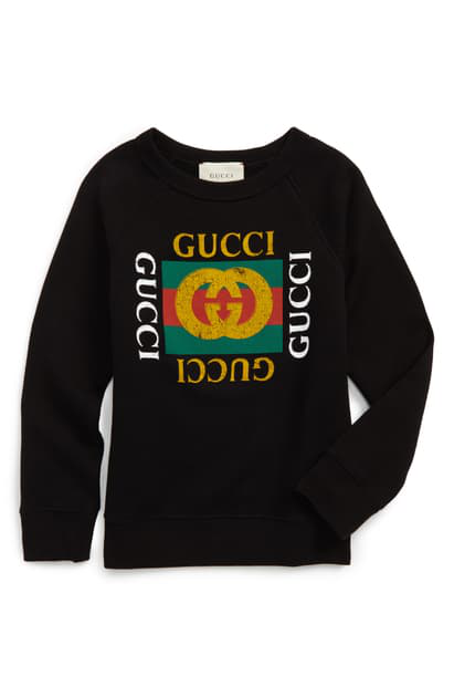Gucci Kids' Logo Graphic Sweatshirt In Black/ Green/ Red