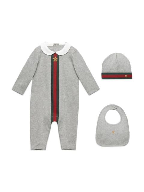 Gucci Babies' Web-trim Jersey Coverall Gift Set, Gray In Grey