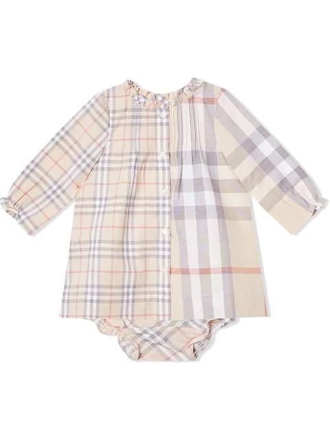 Burberry Babies' Marissa Check Long Sleeve Shift Dress In Neutrals