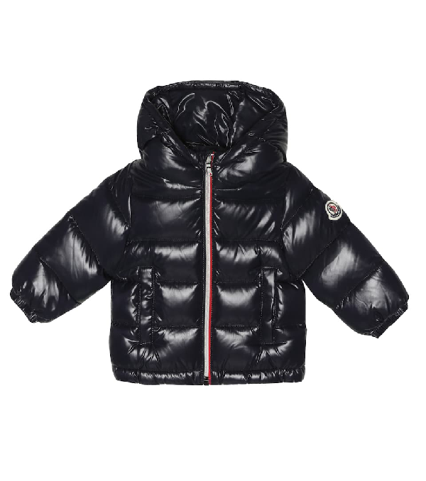Moncler Baby New Aubert绗缝羽绒大衣 In Blue