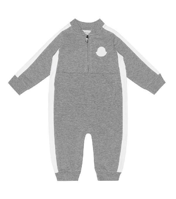 Moncler Baby Stretch-cotton Onesie In Grey