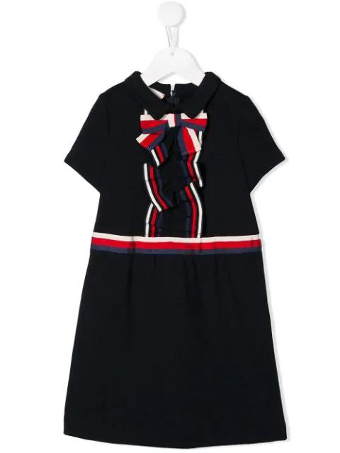 Gucci Kids' Girls' Short-sleeve Collared Dress W/ Ribbon Detail In Blue