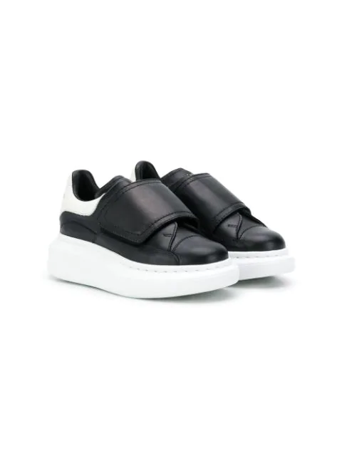 Alexander Mcqueen Kids' Touch-strap Extended Sole Sneakers In Black