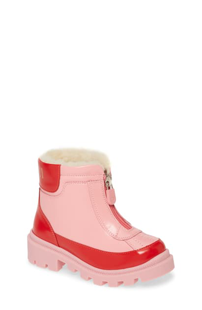 Gucci Kids' Cree Faux Fur Lined Boots In Pink