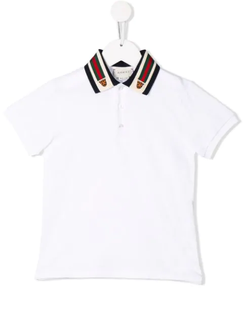 Gucci Kids' Short-sleeve Polo Shirt W/ Web Trim Collar In White