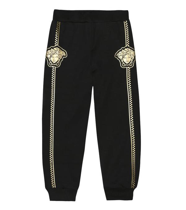 Versace Kids' Boy's Sweatpants W/ Check Medusa Sides In Black/ Gold