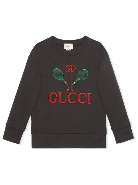 Gucci Kids' Boys' Embroidered Crew Sweatshirt In Grey