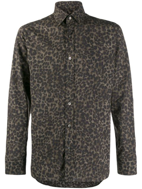Tom Ford Brown Leopard Slim Fit Shirt In Green