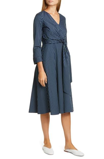 Lafayette 148 Penelope Series Striped Faux-wrap Dress In Royal Blue Multi