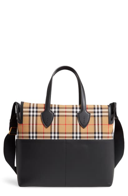 Burberry Kingswood Vintage Check & Leather Diaper Tote In Black