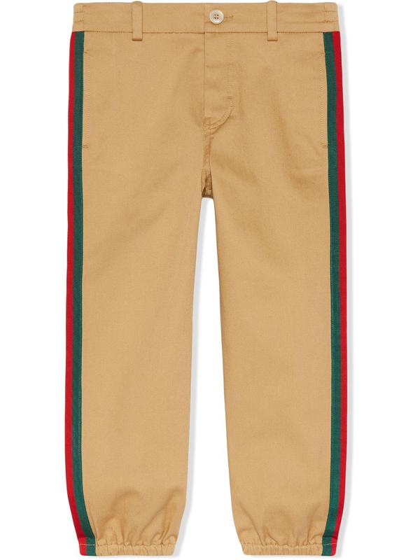 Gucci Kids' Stripe Stretch Gabardine Cotton Pants In Beige