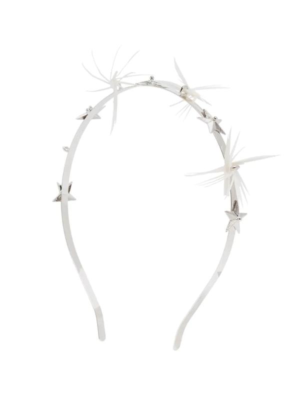 Gigi Burris Millinery White Dhalyn Star Feather Headband In Metallic
