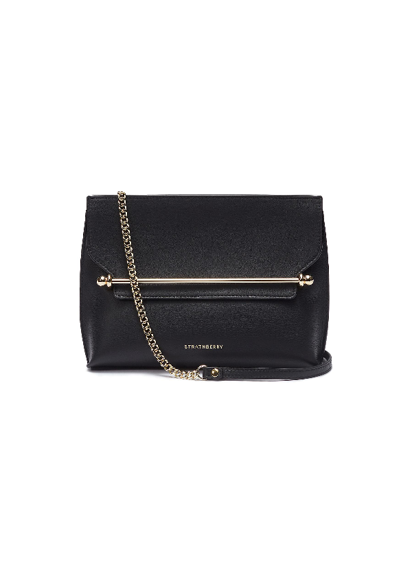 Strathberry Mini Stylist Calfskin Leather Convertible Clutch In Black