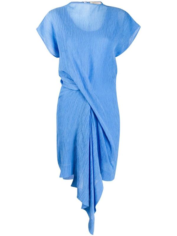 Nina Ricci Draped Plissé Cotton And Silk-blend Dress In Blue