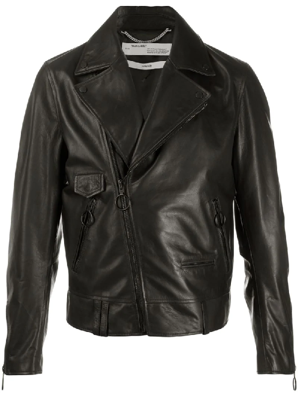 Off-white Arrows Leather Jacket In Black