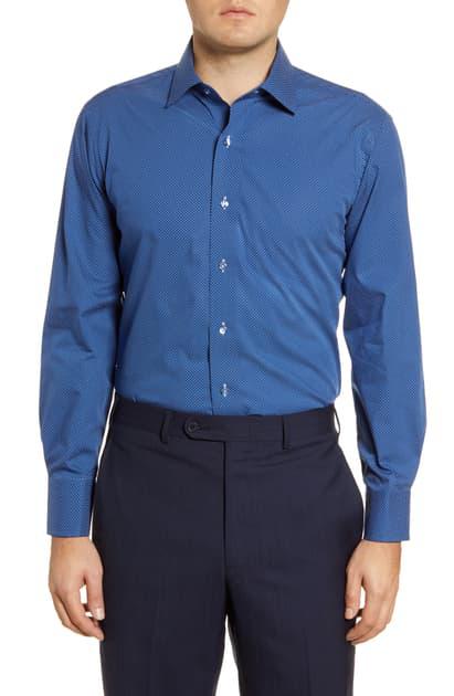 Lorenzo Uomo Trim Fit Dot Print Dress Shirt In Navy