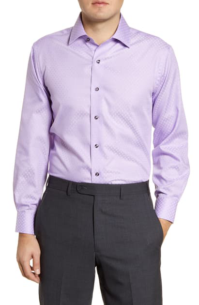 Lorenzo Uomo Trim Fit Non-iron Dress Shirt In Amethyst