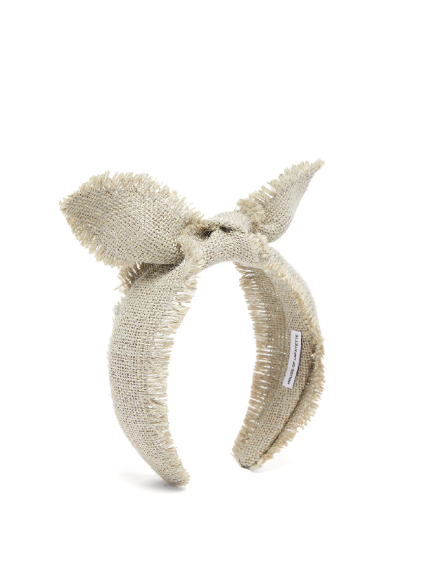 House Of Lafayette Leila Knotted-bow Canvas-weave Headband In Light Grey