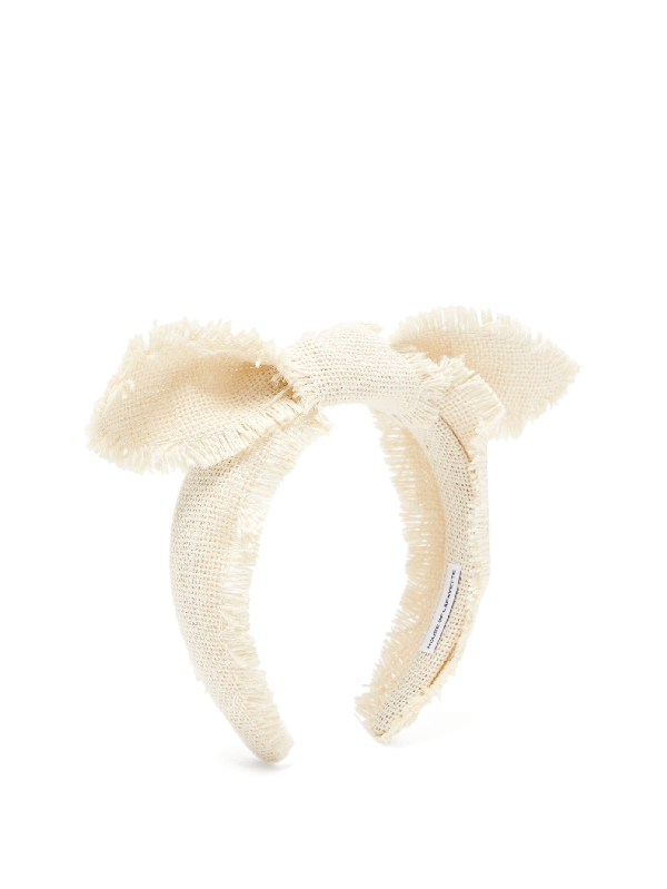 House Of Lafayette Leila Knotted-bow Canvas-weave Headband In White