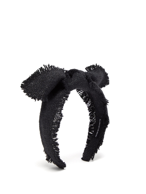 House Of Lafayette Leila Knotted-bow Canvas Headband In Black