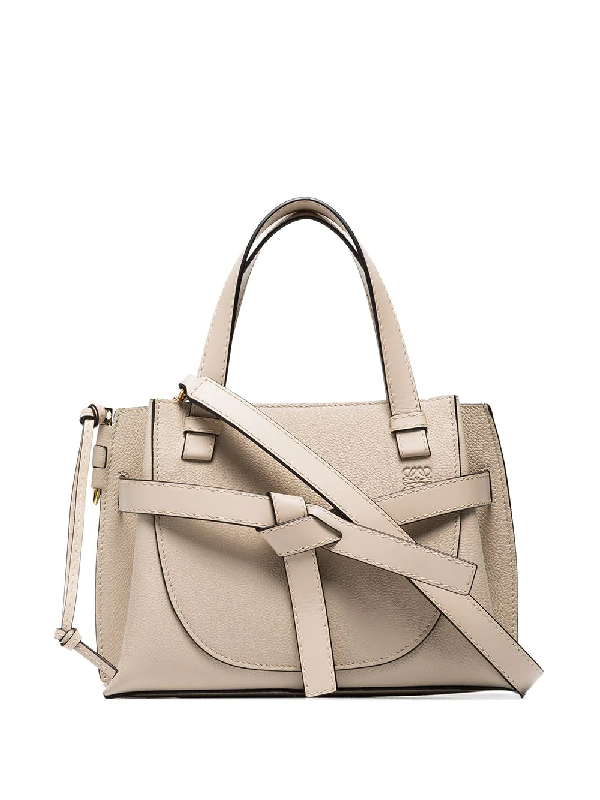 Loewe Gate Mini Grained-leather Top-handle Bag In Neutrals