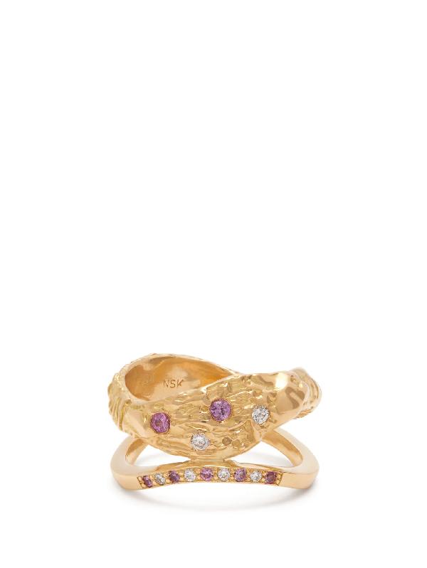 Nadia Shelbaya 115 Diamond, Sapphire & 18kt Gold Ring