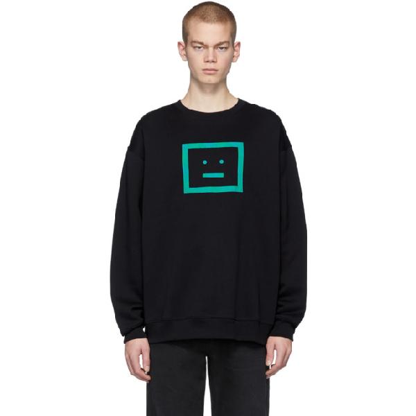 Acne Studios Logo-appliquÉd Fleece-back Cotton-jersey Sweatshirt In Black