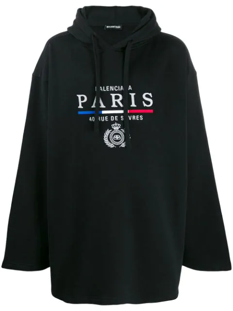 Balenciaga Oversized Embroidered Fleece-back Cotton-jersey Hoodie In Black