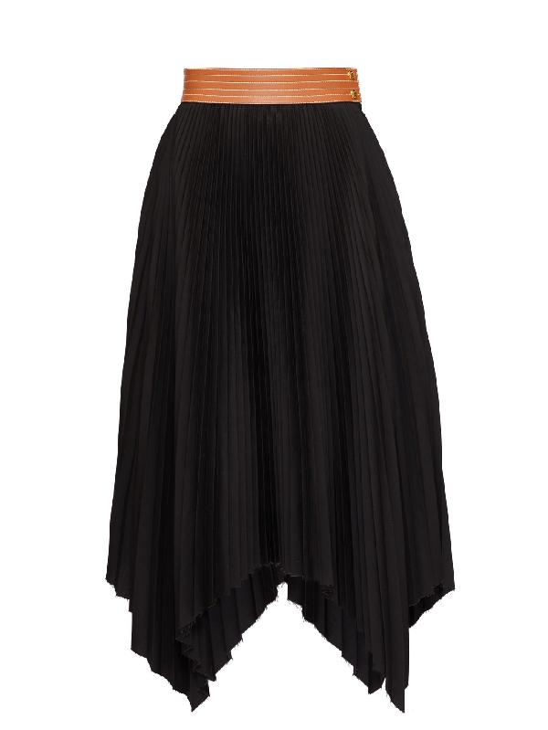 Loewe Leather-trimmed Asymmetric Pleated Crepe Midi Skirt In Black