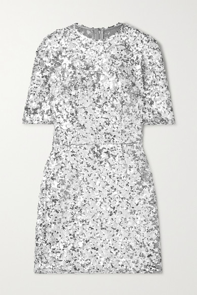Dolce & Gabbana Sequined Stretch-tulle Mini Dress In Silver