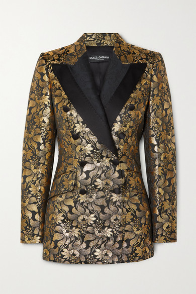 Dolce & Gabbana Double-breasted Metallic Floral-jacquard Blazer In Gold