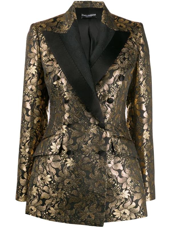 Dolce & Gabbana Women's Double Breasted Goldtone Jacquard Jacket