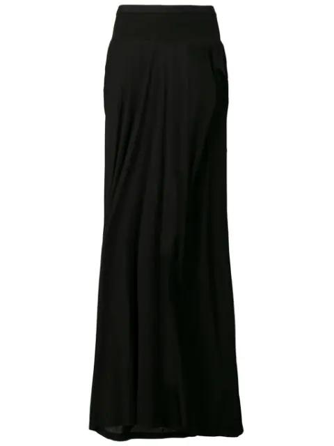 Rick Owens Seb Draped Crepe Maxi Skirt In Black